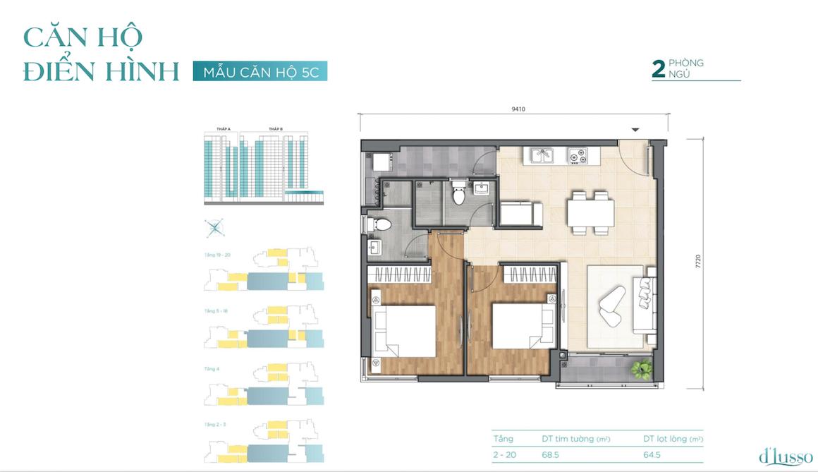 Thiết kế căn hộ điển hình tại dự án D'lusso Emerald Quận 2