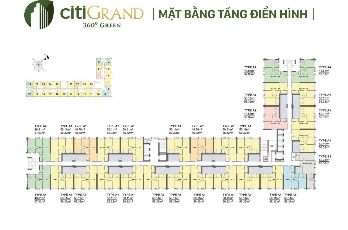 Mặt bằng tầng dự án căn hộ Citi Grand Quận 2
