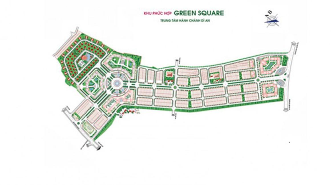 Mặt bằng tổng thể dự án Green Square Dĩ An Bình Dương