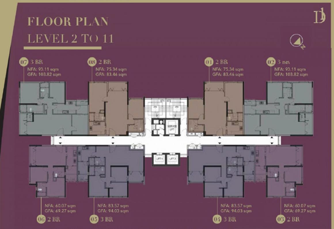 MB tầng 2 đến 11 tại dự án D1 Mension Quận 1