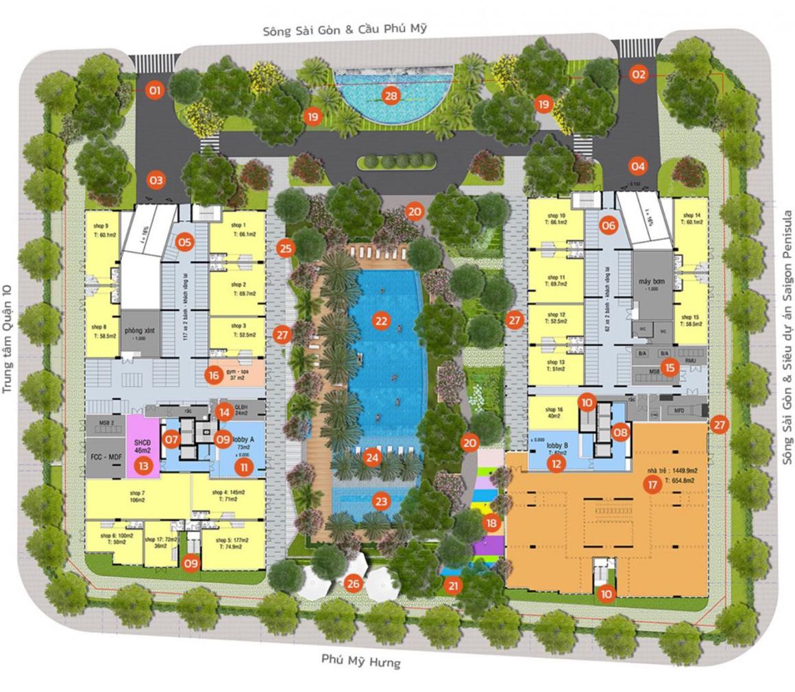 MB Tiện ích tầng trệt dự án Lux Star Quận 7
