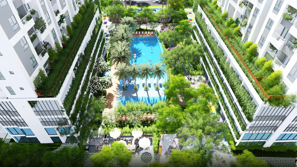 Phối cảnh tiện ích hồ bơi Lớn giữa 2 block dự án Lux Star Quận 7