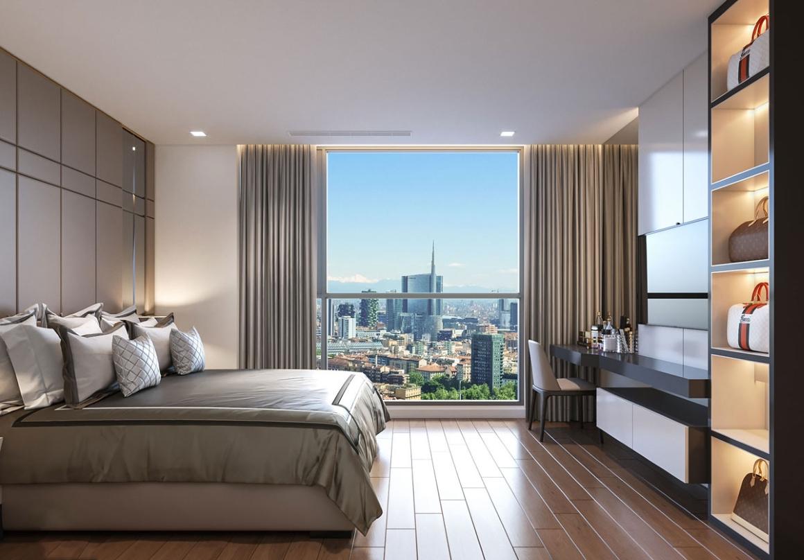 Phòng ngủ lớn căn hộ Opal Avenue BÌnh Dương