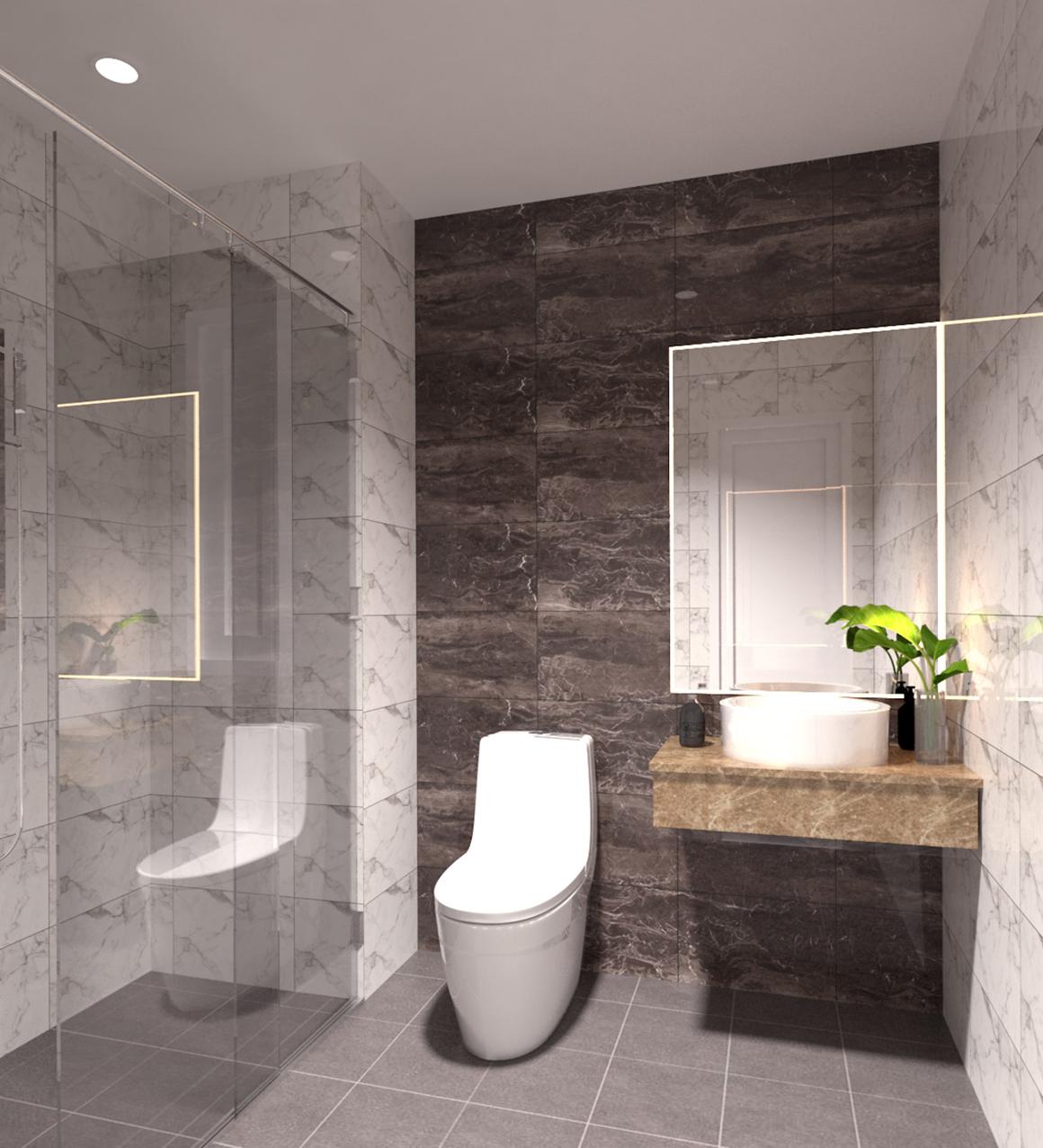 Phòng vệ sinh nhà mẫu dự án Golden Grand