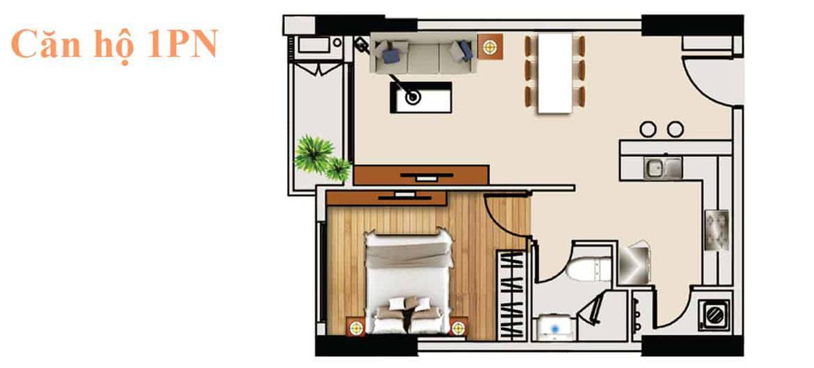 Thiết kế căn hộ 1PN dự án De capella Quận 2
