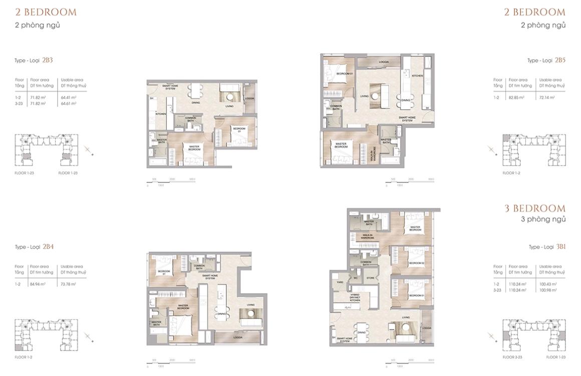 Thiết kế căn hộ 2 PN dự án The Marq Quận 1