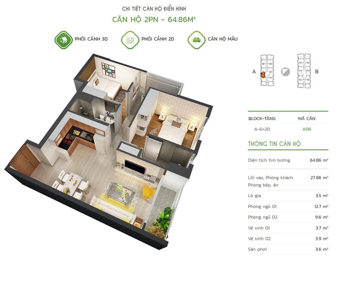 Thiết kế căn hộ 2PN - 64.86m2 tại dự án Lux Star quận 7
