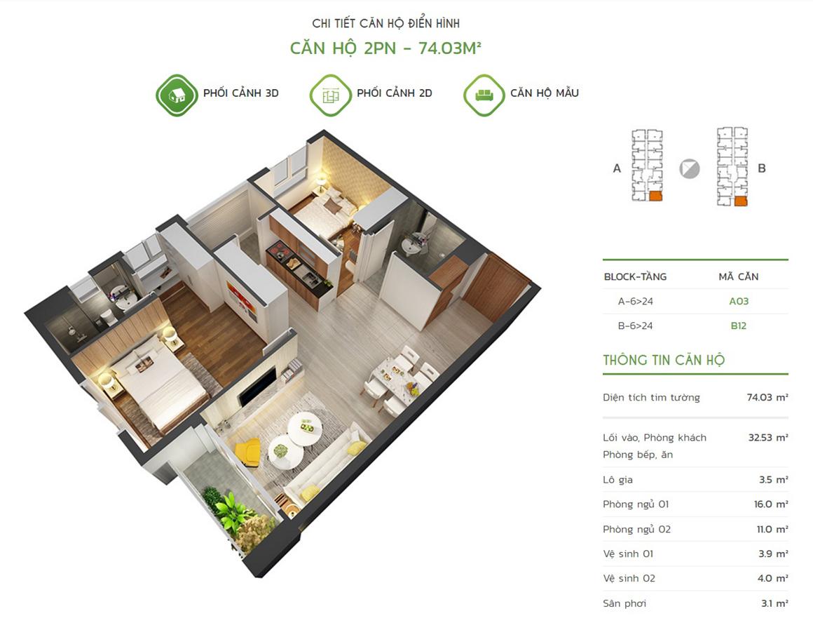 Thiết kế căn hộ 2PN - 74.03m2 tại dự án Lux Star quận 7
