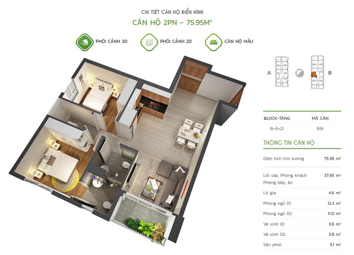 Thiết kế căn hộ 2PN - 75.95m2 tại dự án Lux Star quận 7