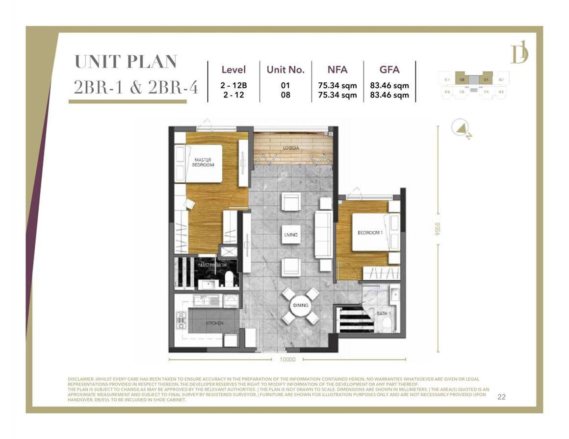 Thiết kế căn hộ 2PN dự án D1 Mension Quận 1