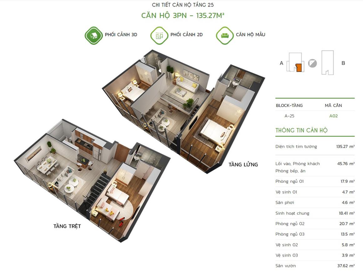 Thiết kế căn hộ 3PN - 135.27m2 tại dự án Lux Star quận 7