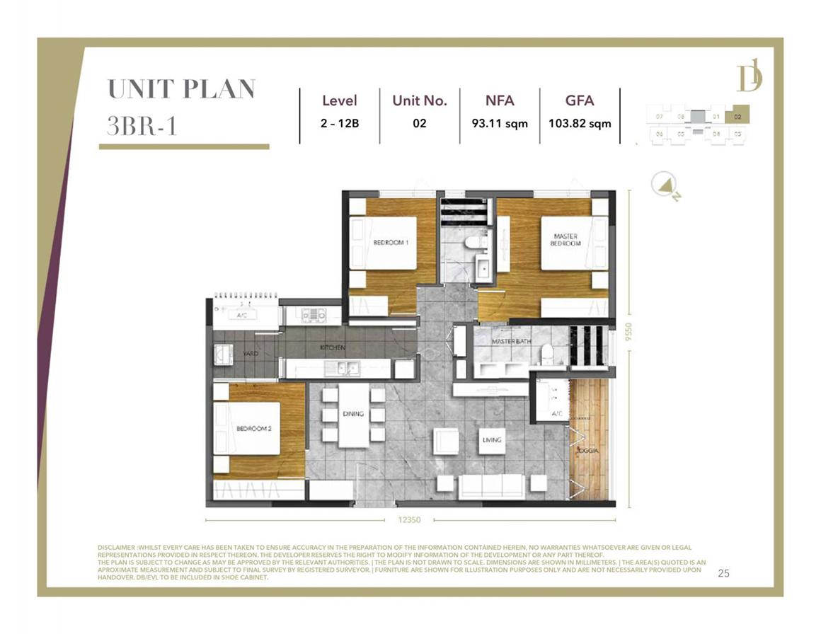 Thiết kế căn hộ 3PN dự án D1 Mension Quận 1