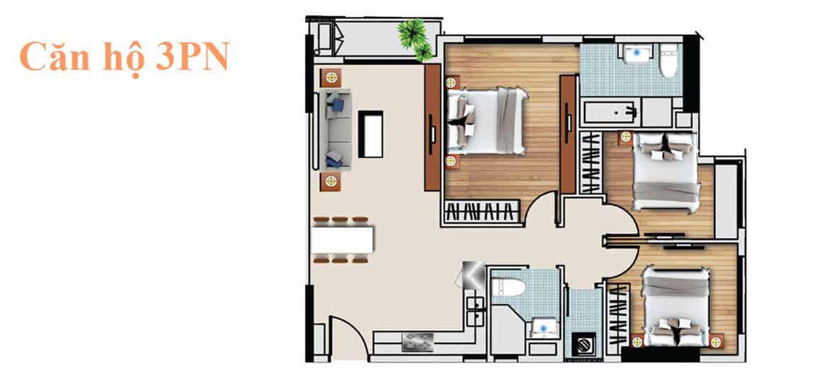 Thiết kế căn hộ 3PN dự án De capella Quận 2