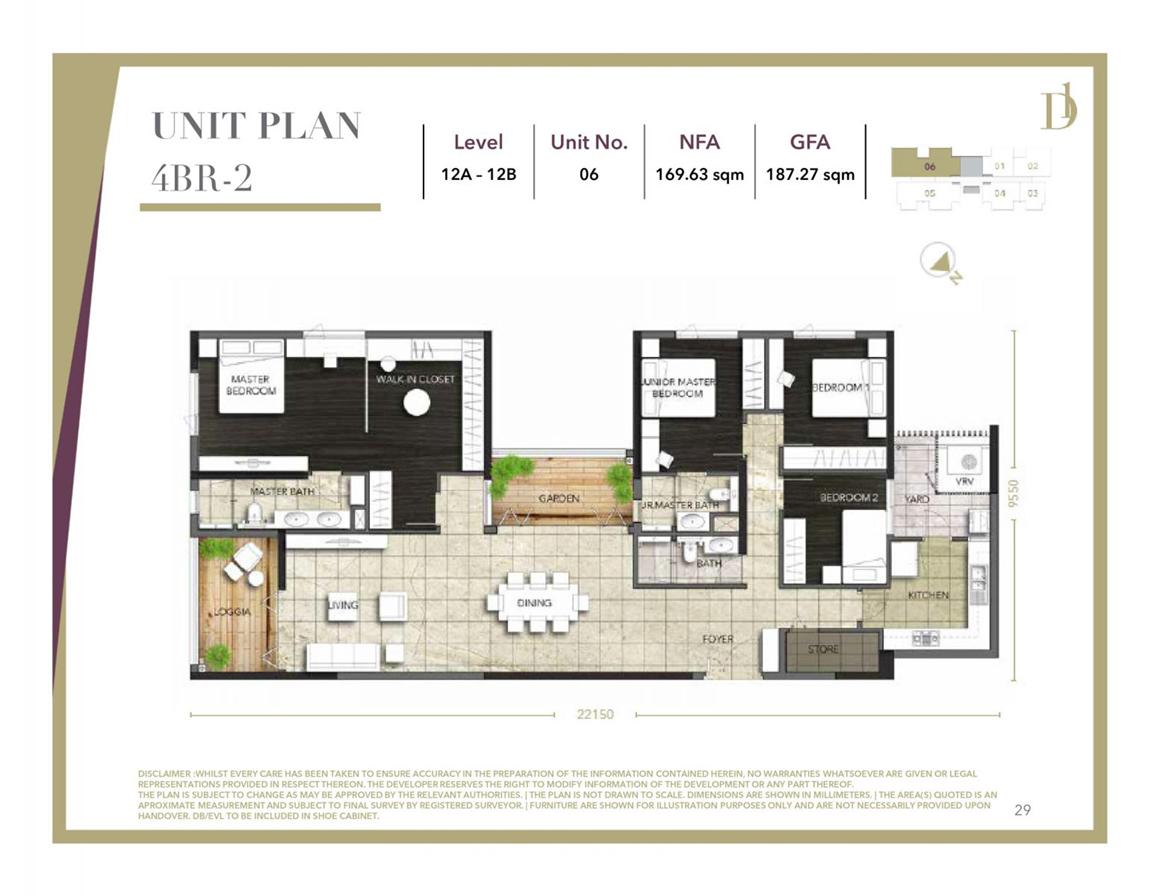 Thiết kế căn hộ 4PN (2) dự án D1 Mension Quận 1