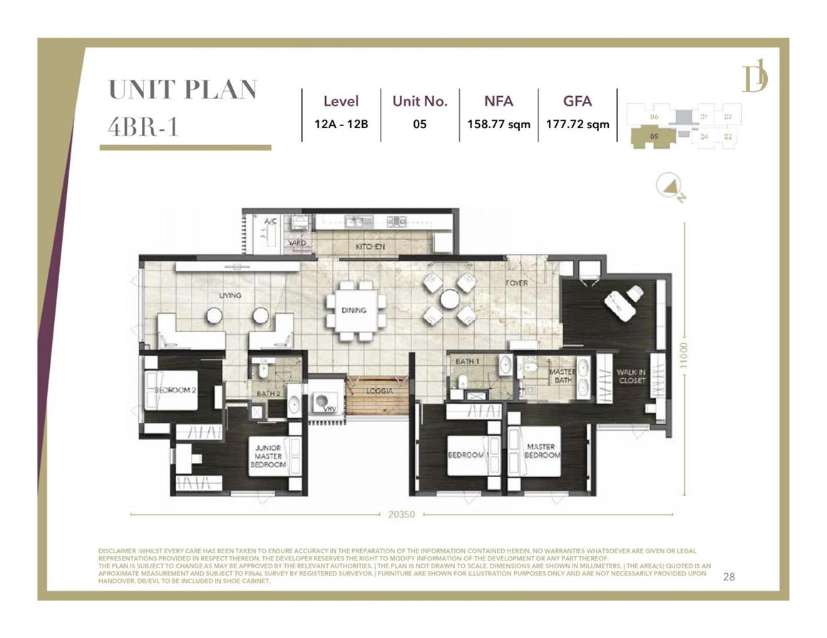 Thiết kế căn hộ 4PN dự án D1 Mension Quận 1