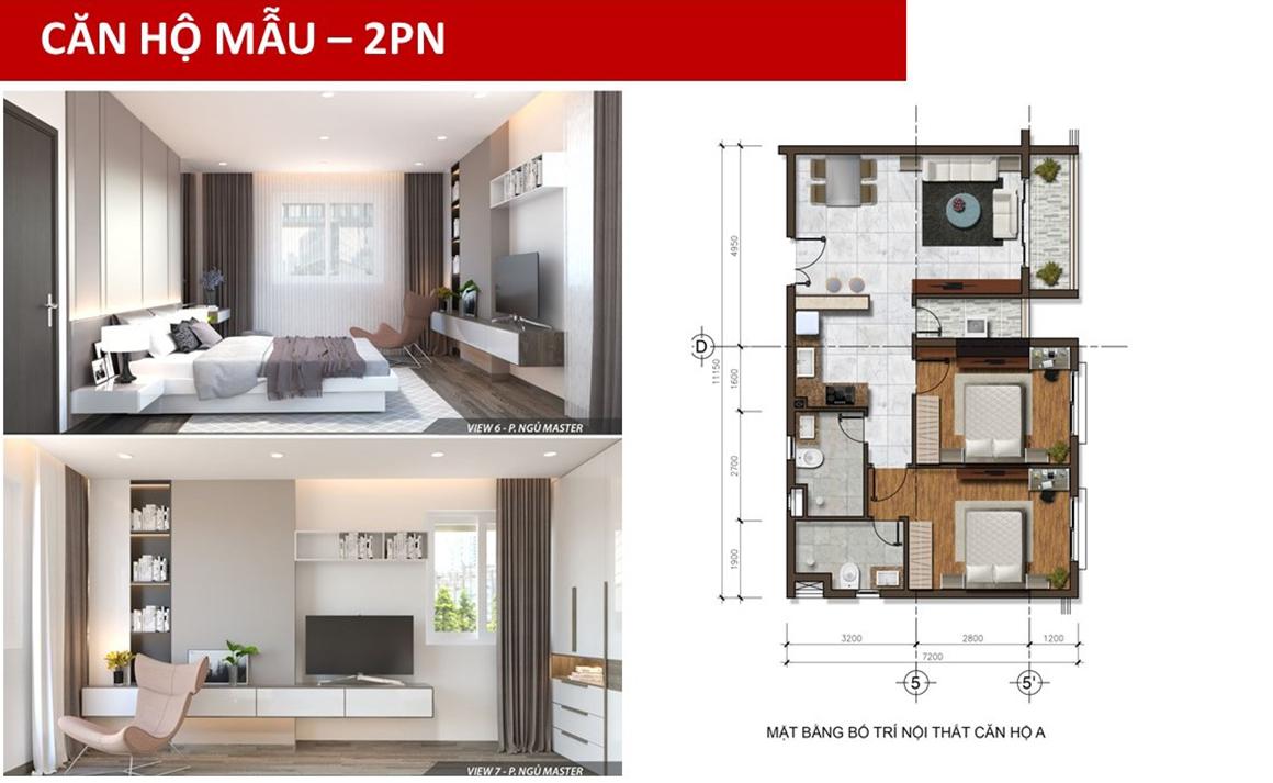 Thiết kế căn hộ mẫu 2 PN dự án Golden Grand