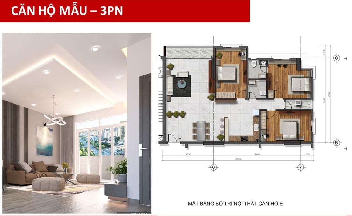 Thiết kế căn hộ mẫu 3PN dự án Golden Grand