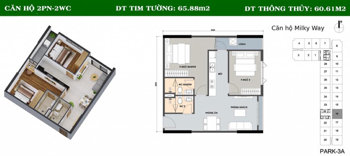 Thiết kế căn hộ Milky Way Bình Tân - 2PN