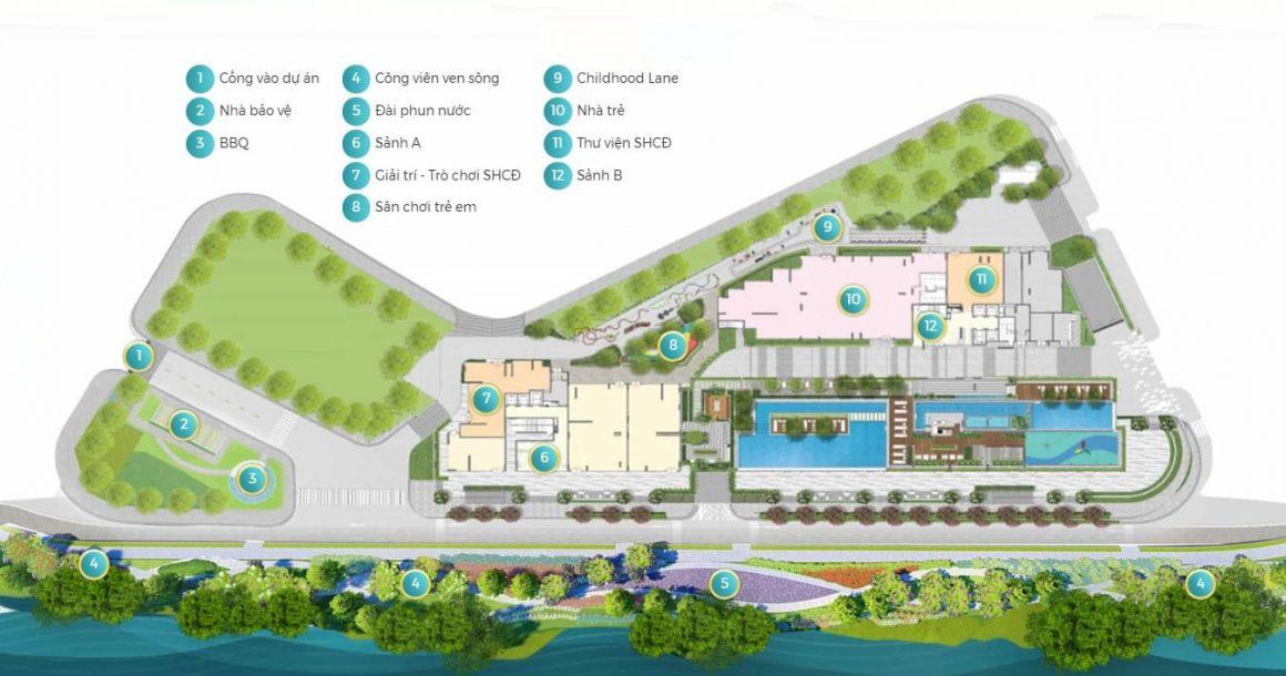 Mặt bằng tiện ích tầng 1 dự án D'lusso Quận 2. Không gian sống xanh, thiết kế tinh tế và hài hoà