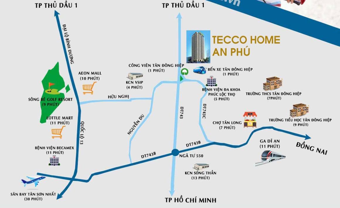Vị trí dự án căn hộ Tecco Home BD