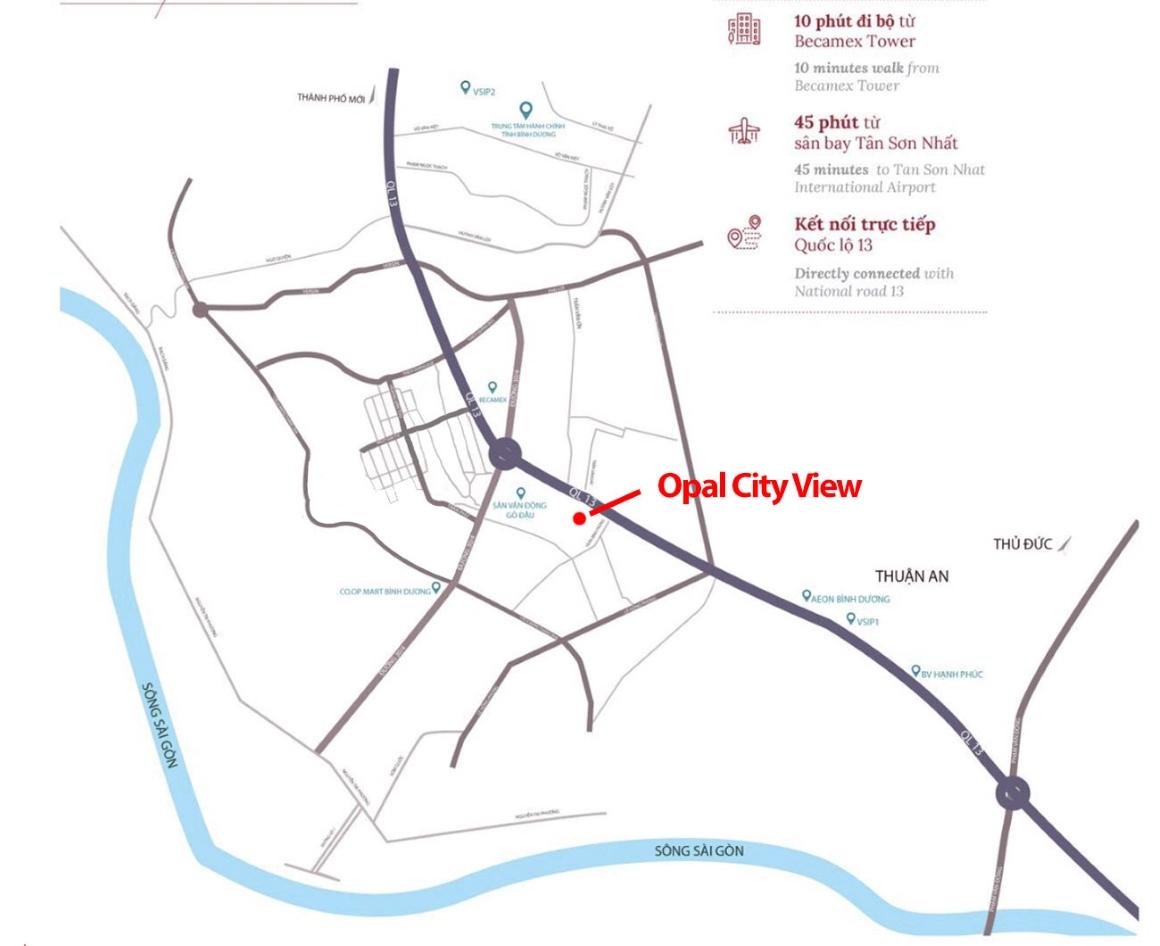 Vị trí dự án Opal City View Bình Dương