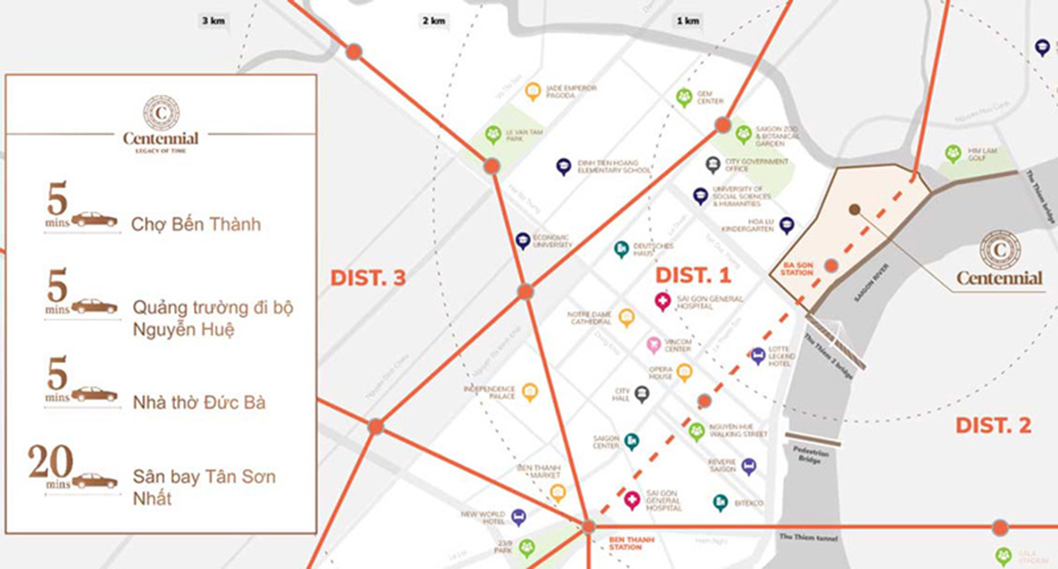 Vị trí và Tiện ích ngoại khu dự án The Centennial Sài Gòn