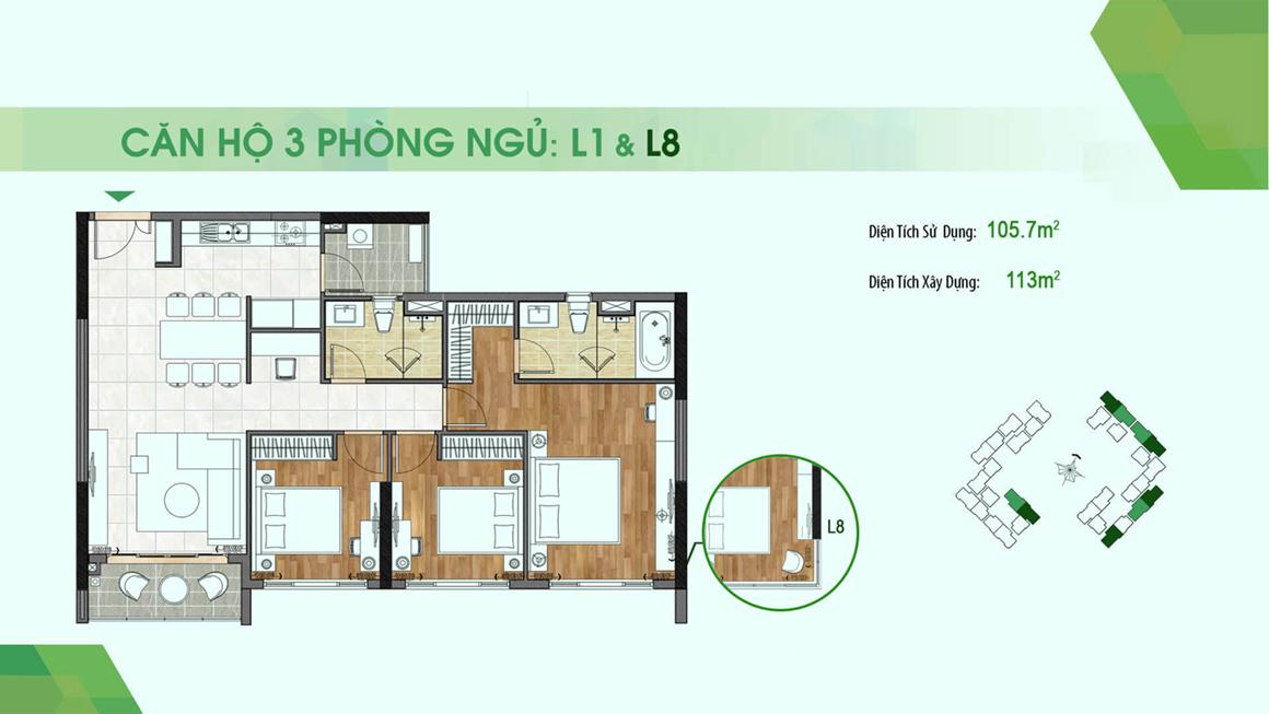 dự án Sadora Apartment mặt bằng L1-L8