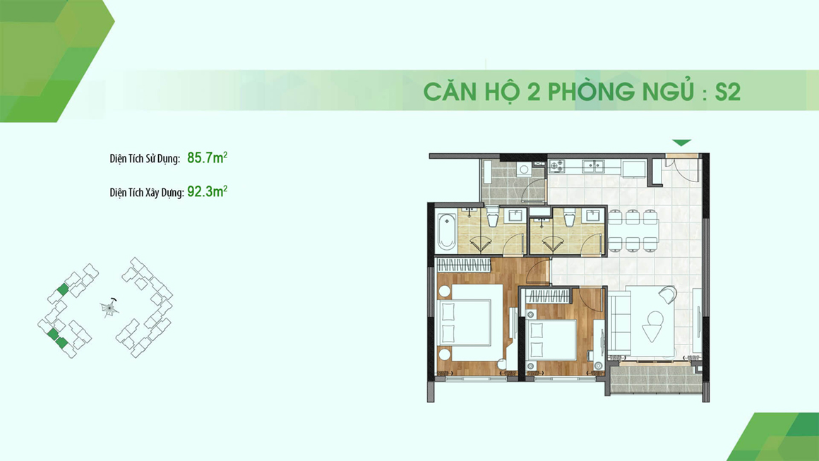 dự án Sadora Apartment mặt bằng S2