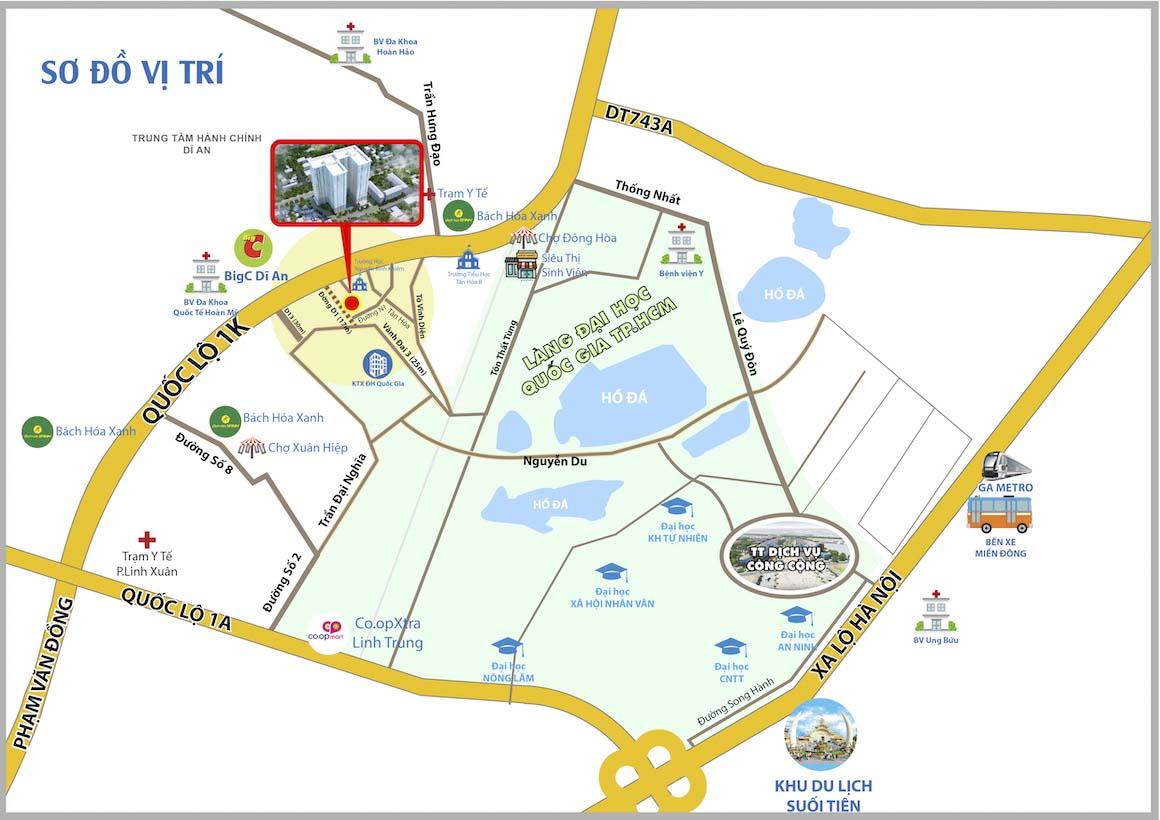 Vị trí căn hộ Bcons Green View trên bản đồ. Liên hệ: 0903 6789 05 để được hỗ trơ xem thực tế dự án
