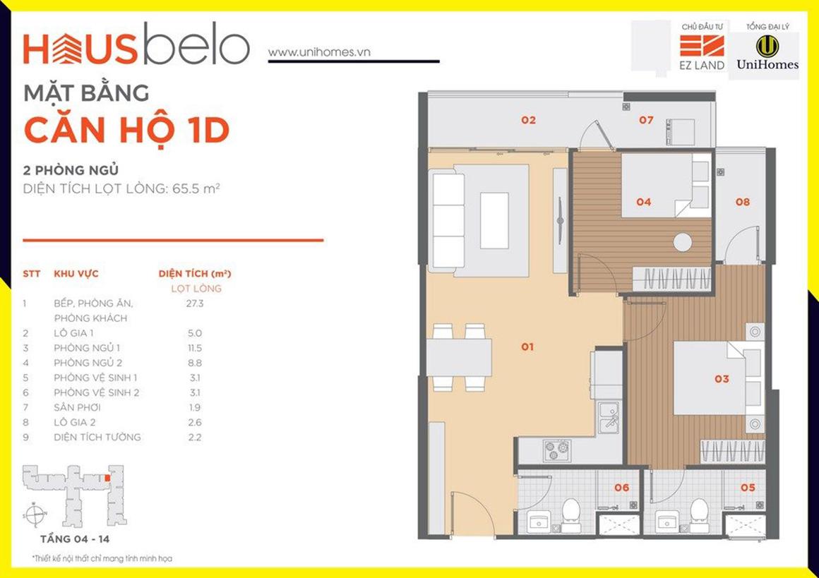 Thiết kế căn hộ 1D dự án Hausbelo quận 9