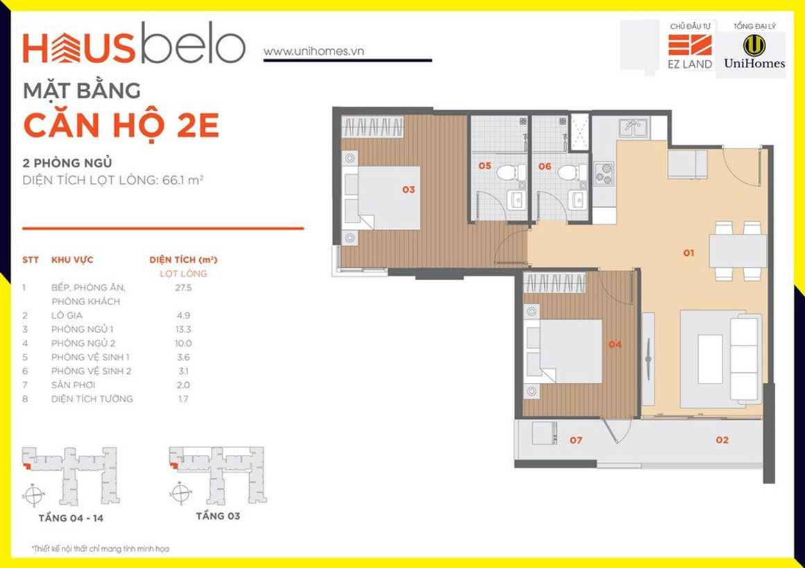 Thiết kế căn hộ 2E dự án Hausbelo quận 9
