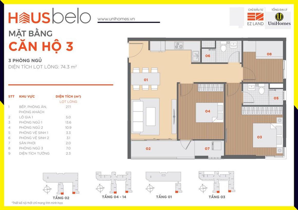 Thiết kế căn hộ 3 dự án Hausbelo quận 9
