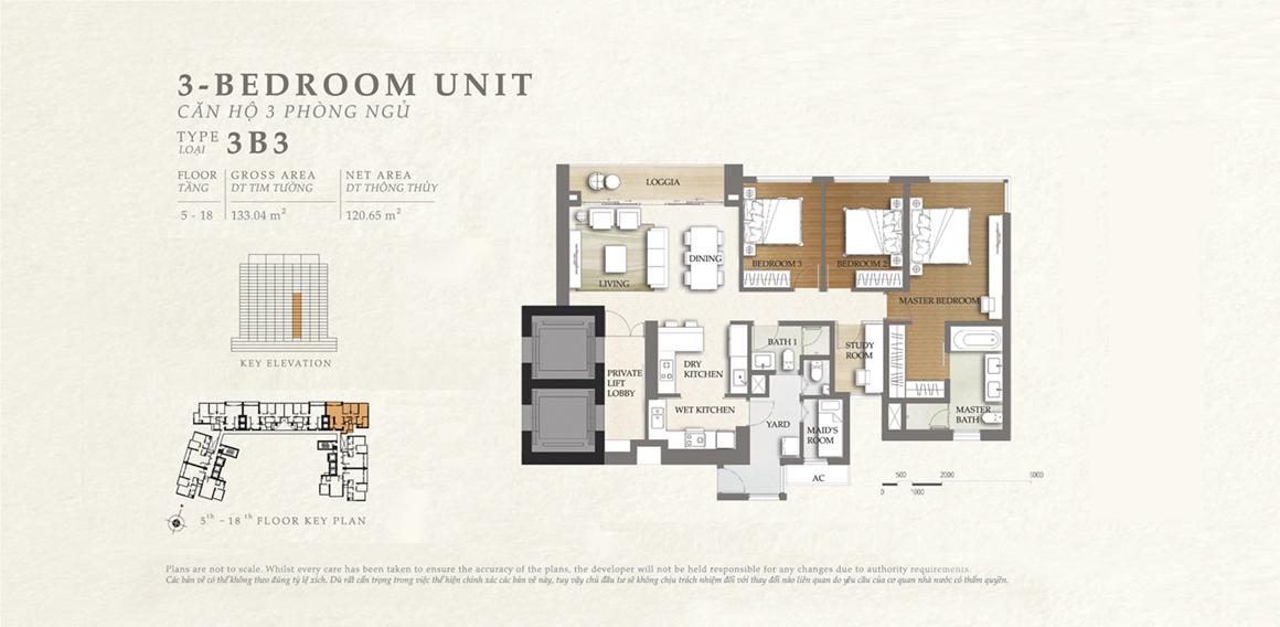 Thiết kế căn hộ 3B3 - dự án The Nassim Thảo Điền