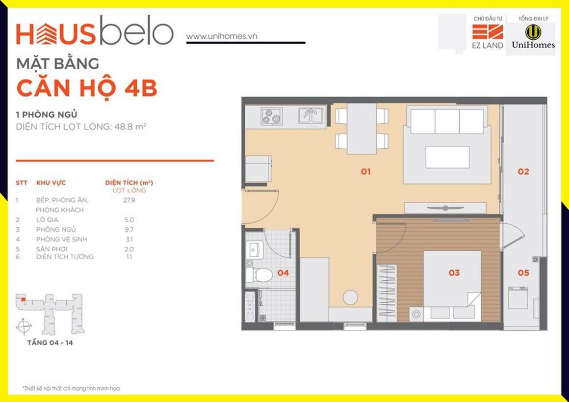 Thiết kế căn hộ 4B dự án Hausbelo quận 9