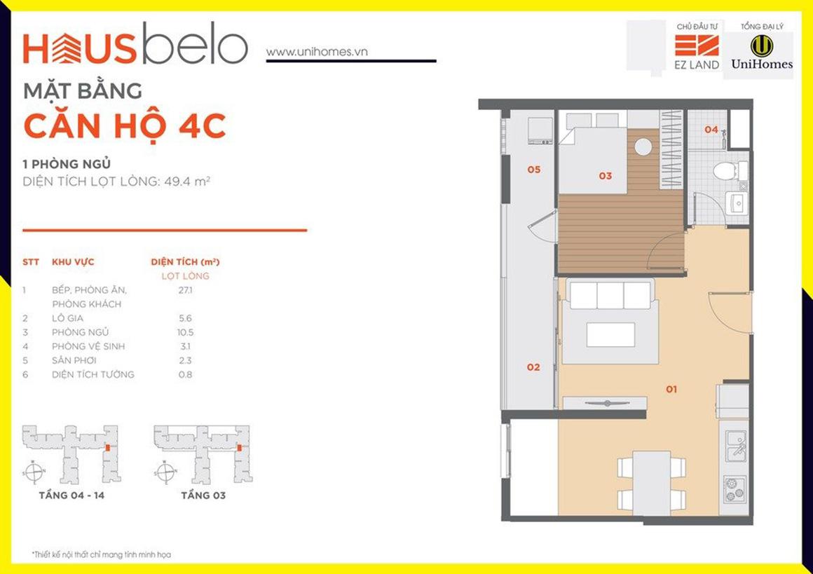 Thiết kế căn hộ 4C dự án Hausbelo quận 9