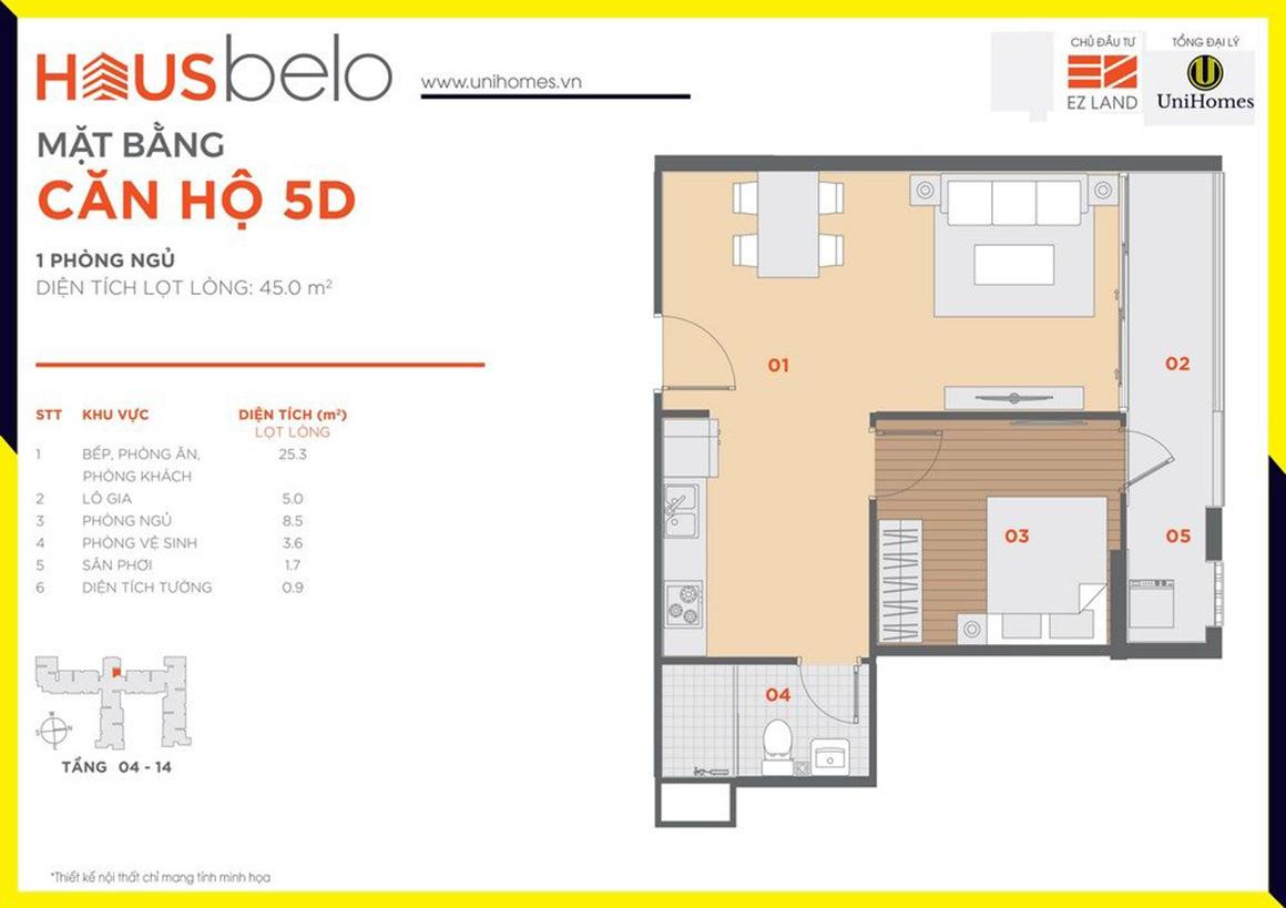 Thiết kế căn hộ 5D dự án Hausbelo quận 9