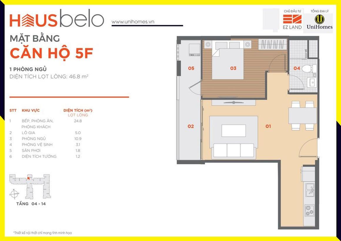 Thiết kế căn hộ 5F dự án Hausbelo quận 9