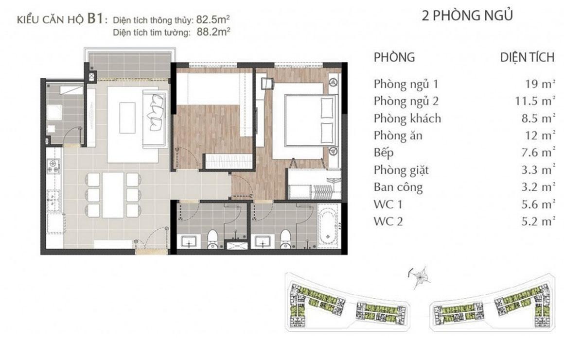 Thiết kế căn hộ B1 dự án SARIMI SALA