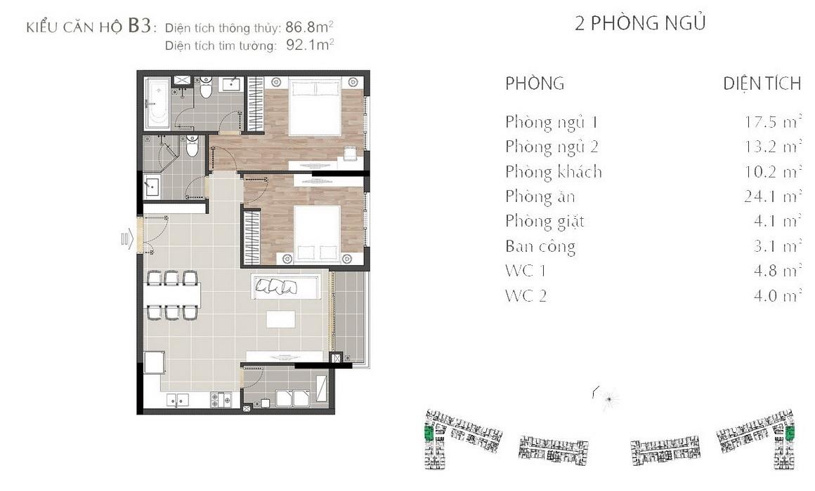 Thiết kế căn hộ B3 dự án SARIMI SALA