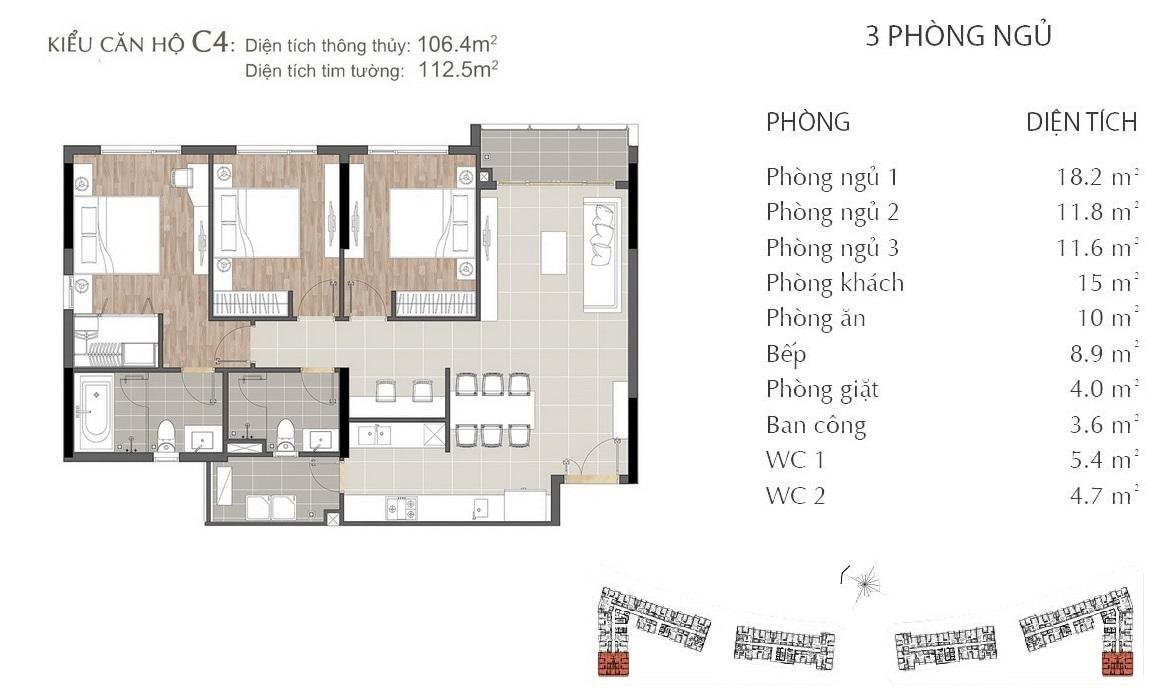 Thiết kế căn hộ C4 dự án SARIMI SALA