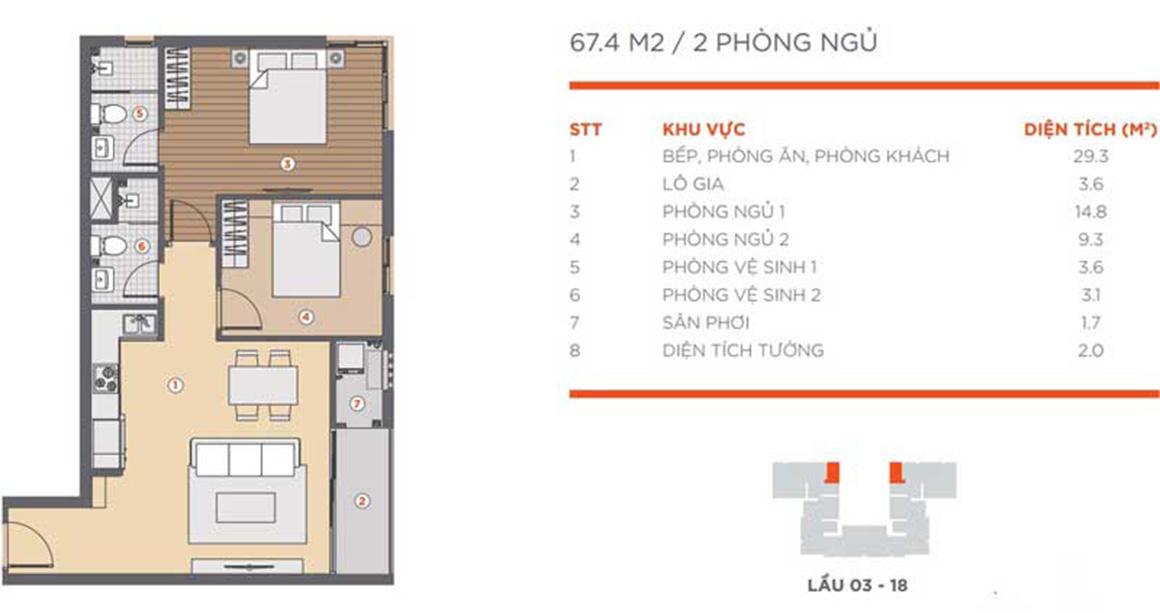 Thiết kế căn 2PN dự án Hausneo