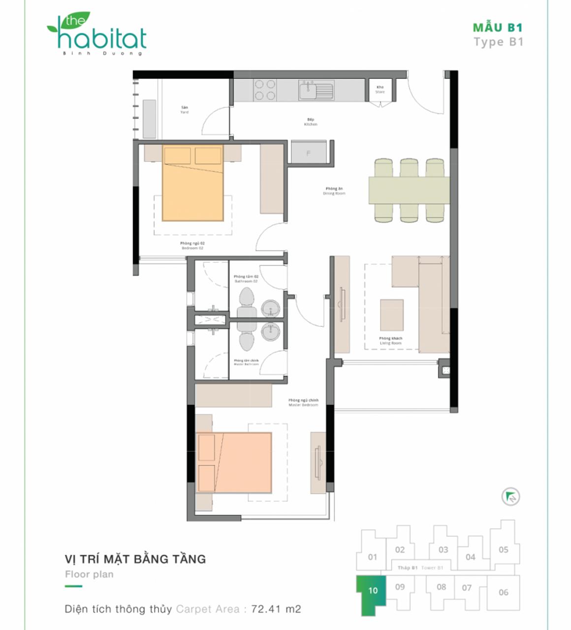 Thiết kế dự án The Habitat Mẫu B1
