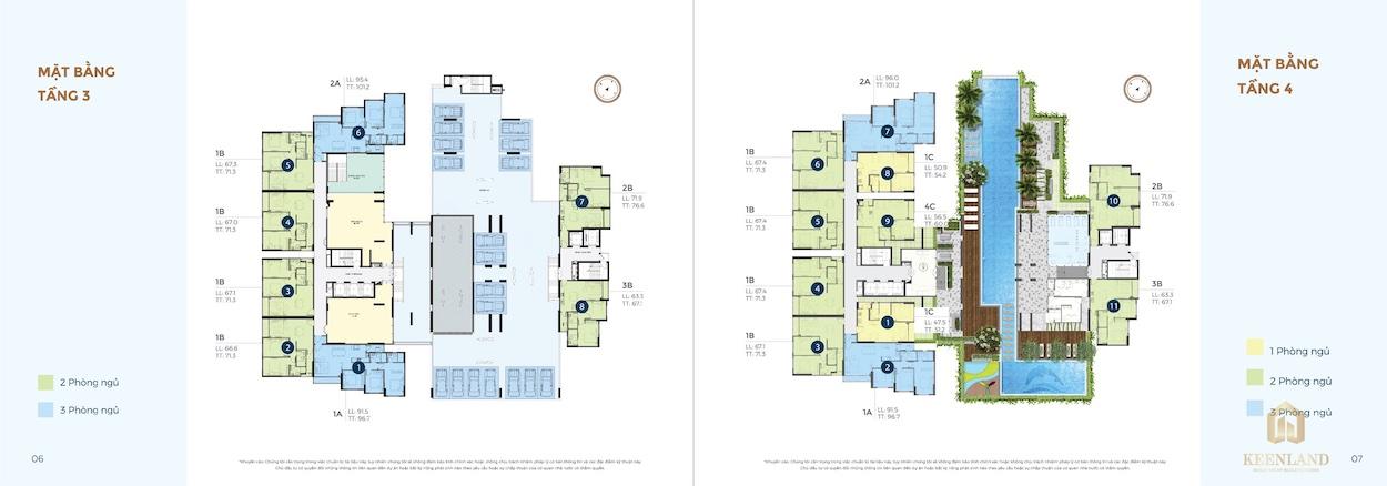 Mặt bằng tầng 03 - 04 dự án căn hộ Precia Quận 2