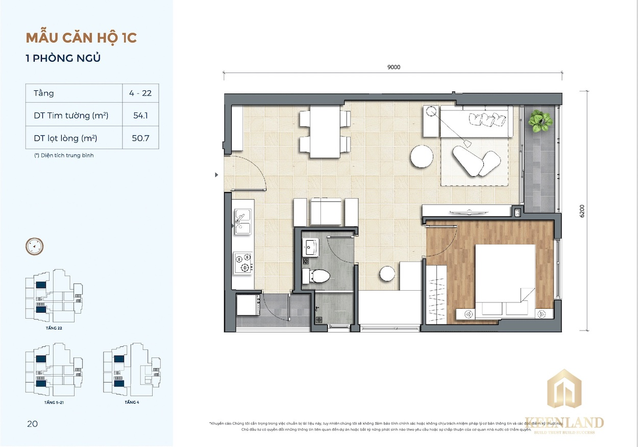 Thiết kế căn hộ 1 Phòng ngủ dự án Precia Quận 2
