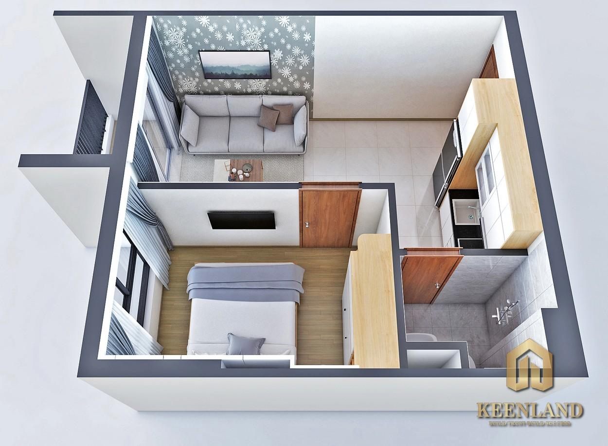 Thiết kế căn hộ Bcons Bee 2 phòng ngủ