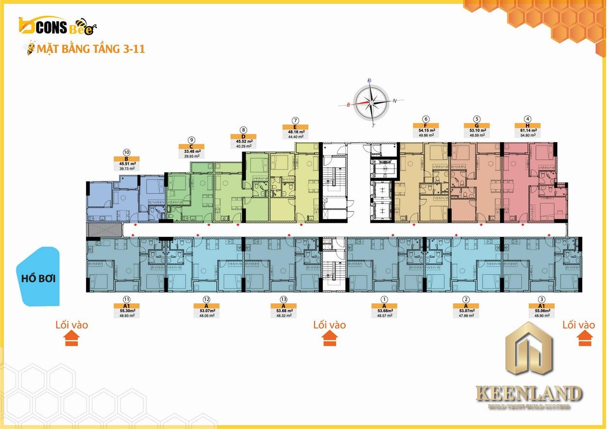 Mặt bằng tầng 03 - 11 dự án căn hộ Bcons Bee bình Dương