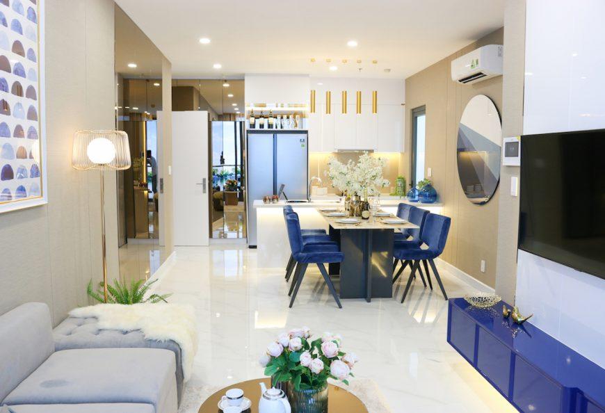 phòng khách nhà mẫu dự án căn hộ Precia Quận 2